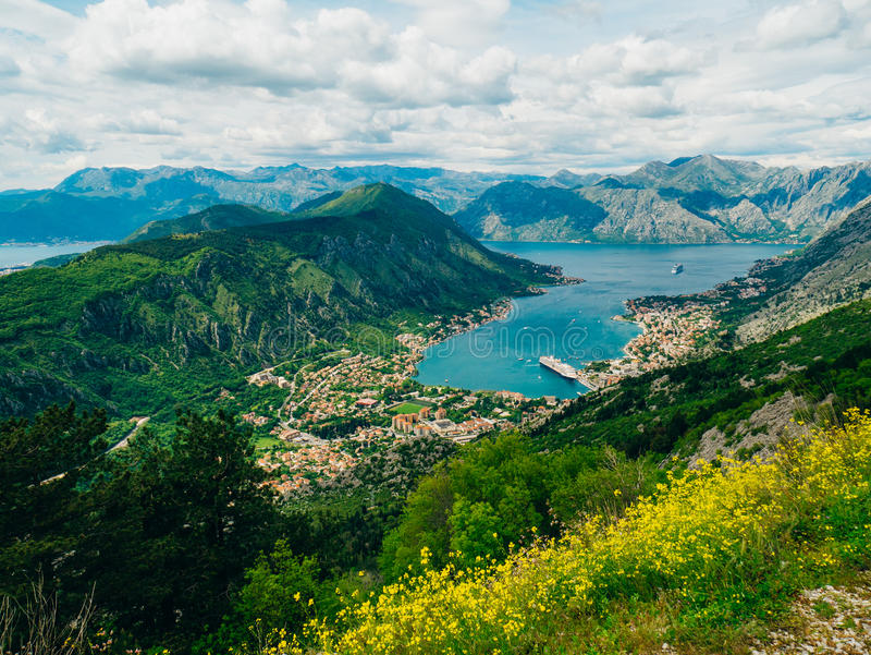 Bay of Kotor from the heights. View from Mount Lovcen to the bay royalty free stock images
