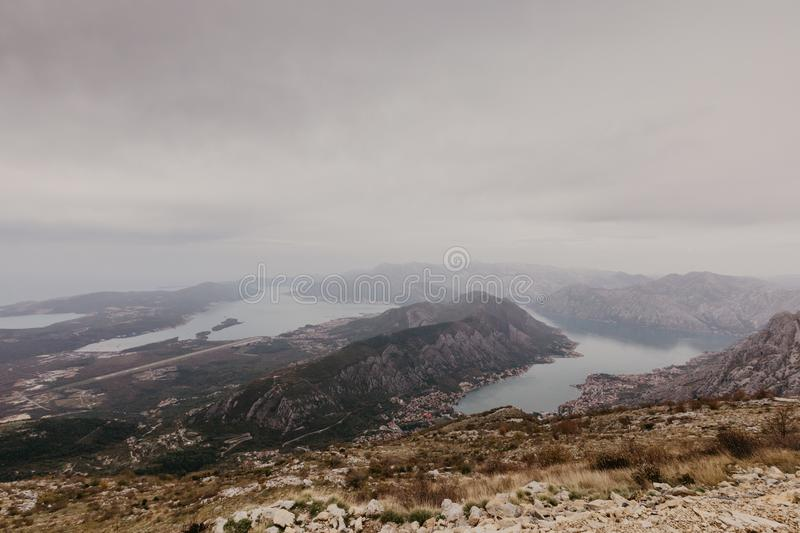 Bay of Kotor from the heights. View from Mount Lovcen to the bay. View down from the observation platform on the mountain Lovcen stock image