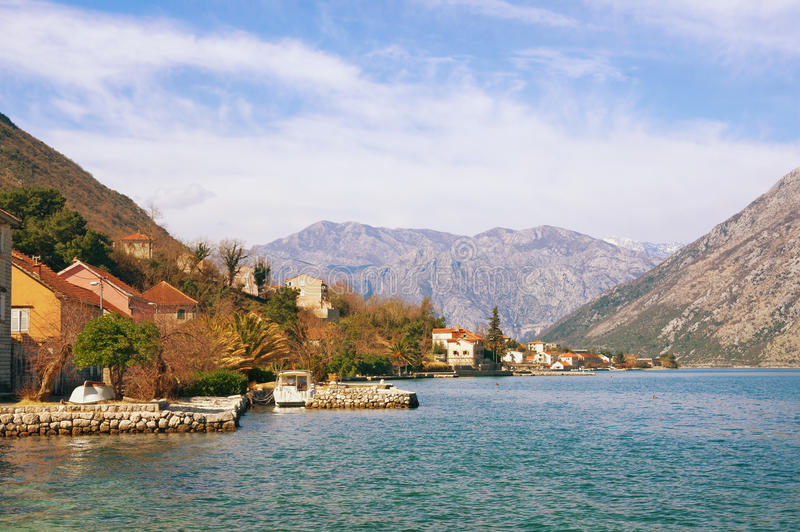 Bay of Kotor near Prcanj town. Montenegro stock photos