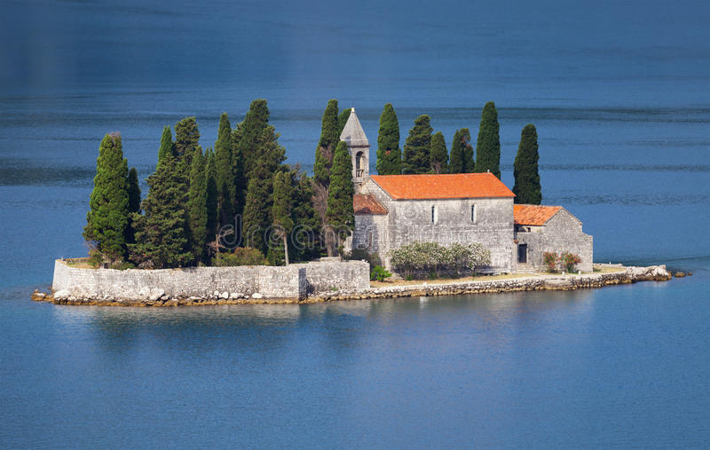 Bay of Kotor. Small island with Monastery stock image
