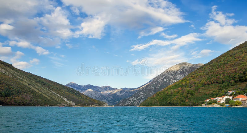 Bay of Kotor, Verige strait. Montenegro royalty free stock photography