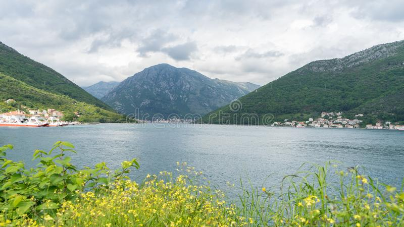 Bay of Kotor. View from the road. Mountains and bay in Montenegro. Scenic Landscape with a big lake and mountain with clouds and. Green forest, sea, adriatic royalty free stock images