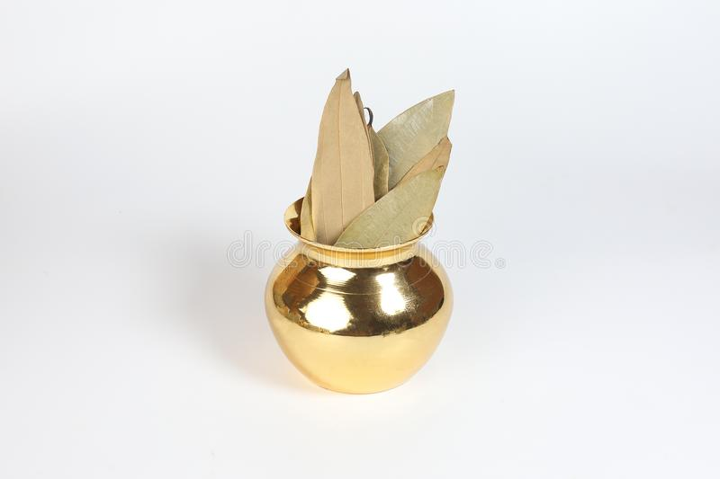 Bay leaf spice in shiny metal pot stock photo