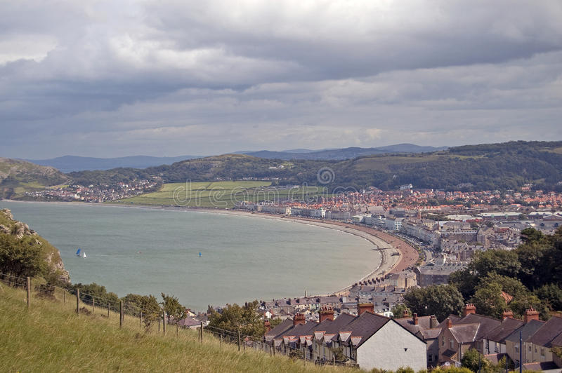 Bay of llandudno. The town and bay of llandudno in north wales taken from the great orme royalty free stock photography