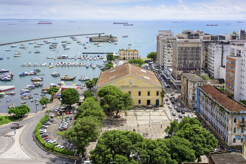Bay and the market in Salvador stock images