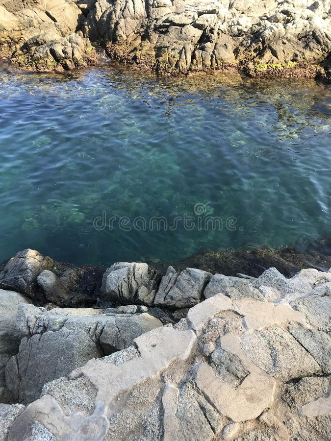 Bay, Mediterranean sea with small crabs. The Bay of the Mediterranean sea with small crabs is located near the beach of Lloret de Mar. Emerald transparent sea stock photography