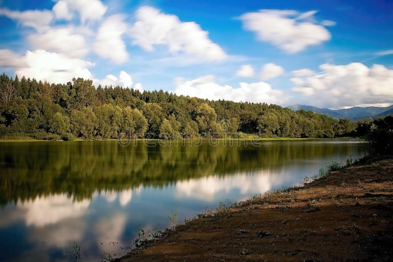 The bay with a mirror on the water level at the Liptovska Mara dam. Trees mirroring on the water level. Summer scenery in Slovakia, blue, deep, lake, mirrored royalty free stock photo