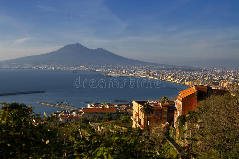 Bay of Naples and Mount Vesuvius stock images