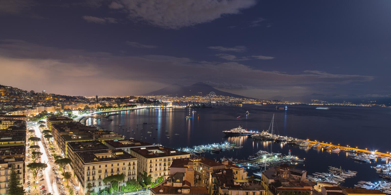 Bay of Naples at night stock images
