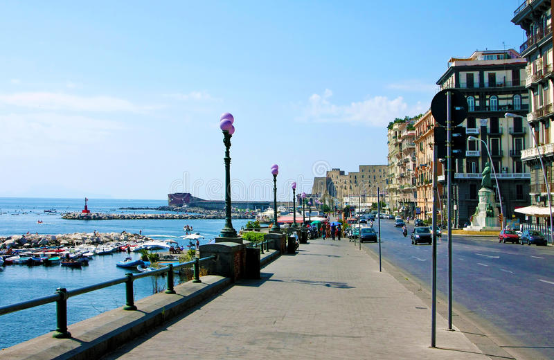 Bay of Naples, sea-front royalty free stock photography