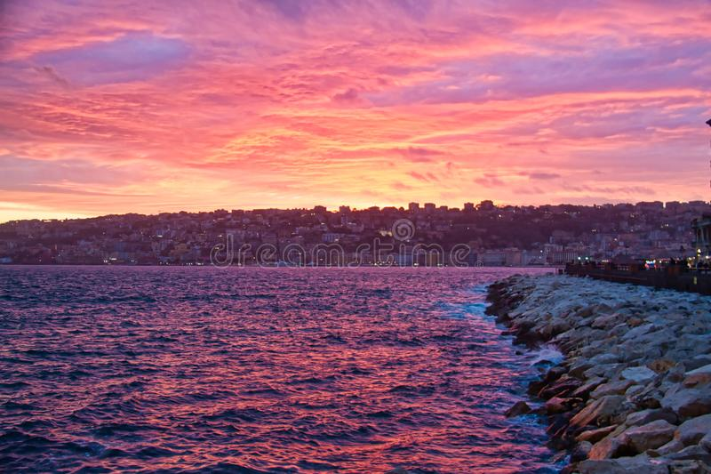 The Bay of Naples during sunset. royalty free stock image