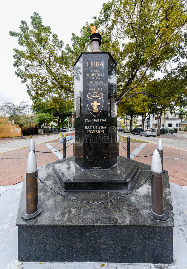 Bay of Pigs Invasion Monument, Little Havana. Miami, Florida. Commemorated to the martyrs who died in the assault on April 17, 1961 stock photos