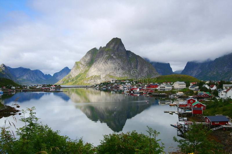 The bay of Reine stock photo