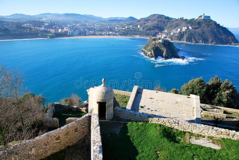 The bay of San Sebastian. San Sebastian bay in Spain stock image