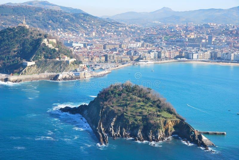 The bay of San Sebastian. San Sebastian bay in Spain stock photography