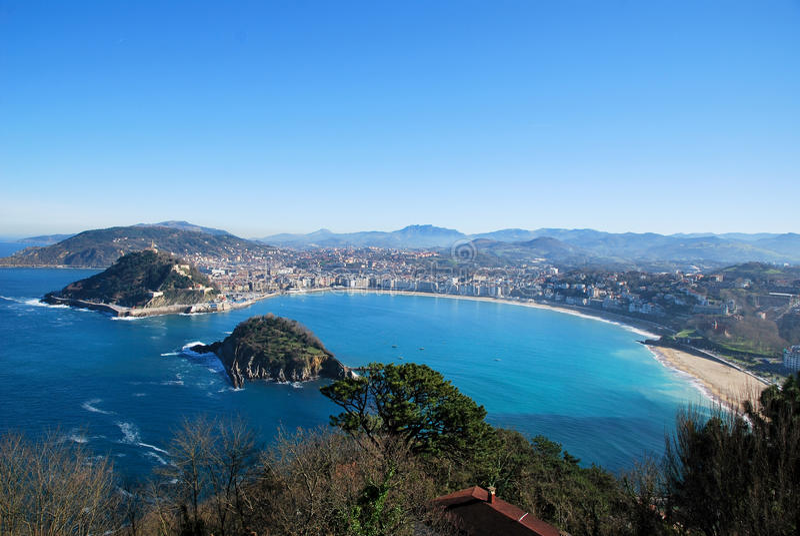 Bay of San Sebastian. San Sebastian bay in Spain stock images