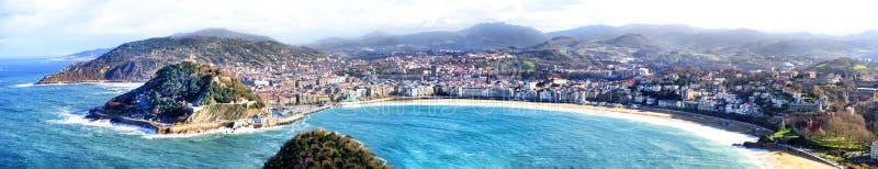 The bay of San Sebastian in Spain.  stock photos
