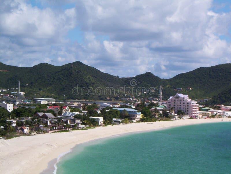 Bay in St. Maarten stock images