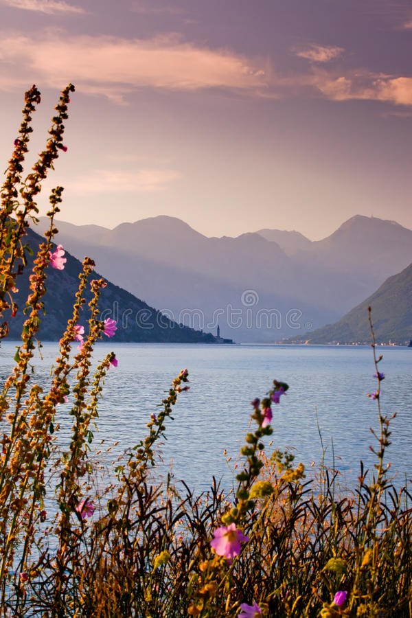 Download Bay on sunrise stock image. Image of kotorska, boat, malva - 15521035