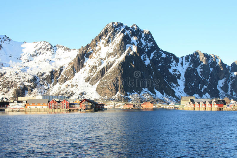 The bay of Svolvaer in Lofoten. The port and the bay of Svolvaer, biggest town of Lofoten Archipelago, under the famous mountain Goat of Svolvaer stock photography