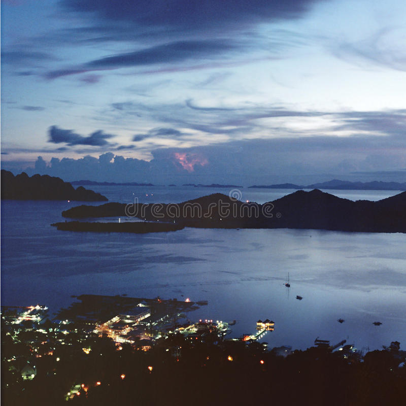 Bay view at dusk stock photography