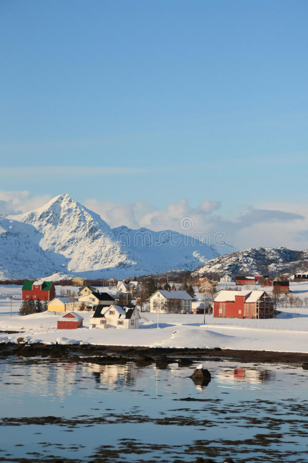 Bay of the whales. A small lofoten's village mirroring in Whale's bay stock image