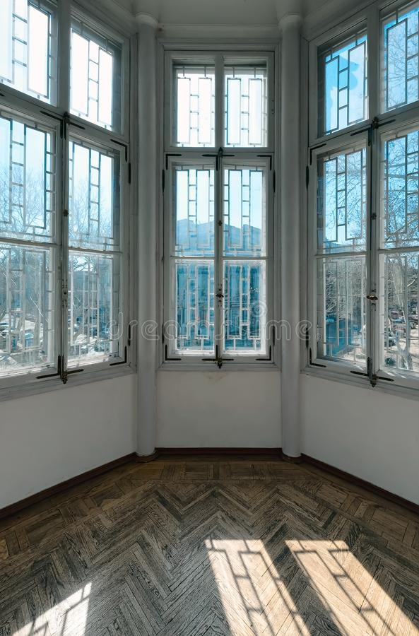 Bay window with city view stock photo