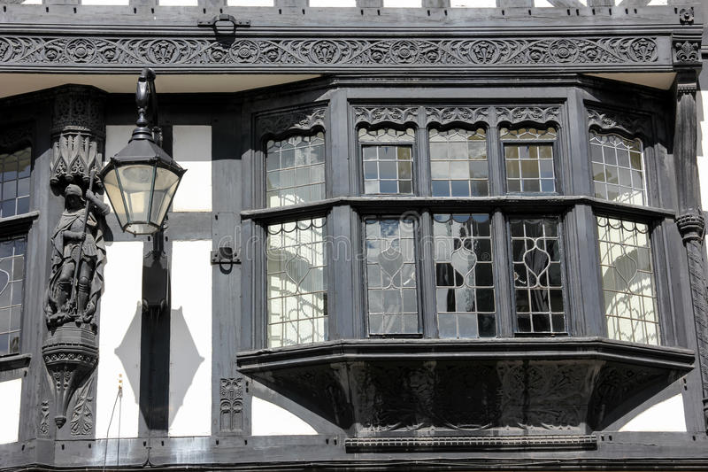 Bay window in Tudor building. Chester. England stock image