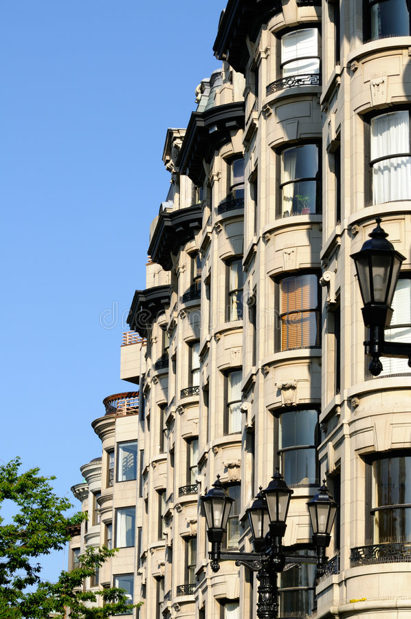Bay windows. In elegant apartment building of Back Bay, Boston royalty free stock photography