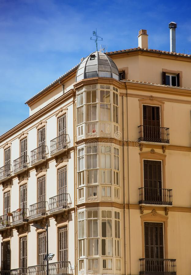 Bay Windows in Old Plaster Building. In Malaga stock photography