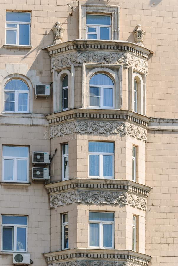 Bay Windows of the ten-storey brick residential apartment house. On Prospekt Mira was Built in 1959. Moscow, Russia stock photo
