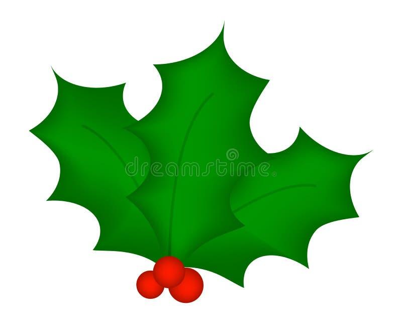 Baya del acebo, hojas e icono de las frutas, símbolo, diseño de la Navidad Ejemplo del vector del invierno en el fondo blanco stock de ilustración