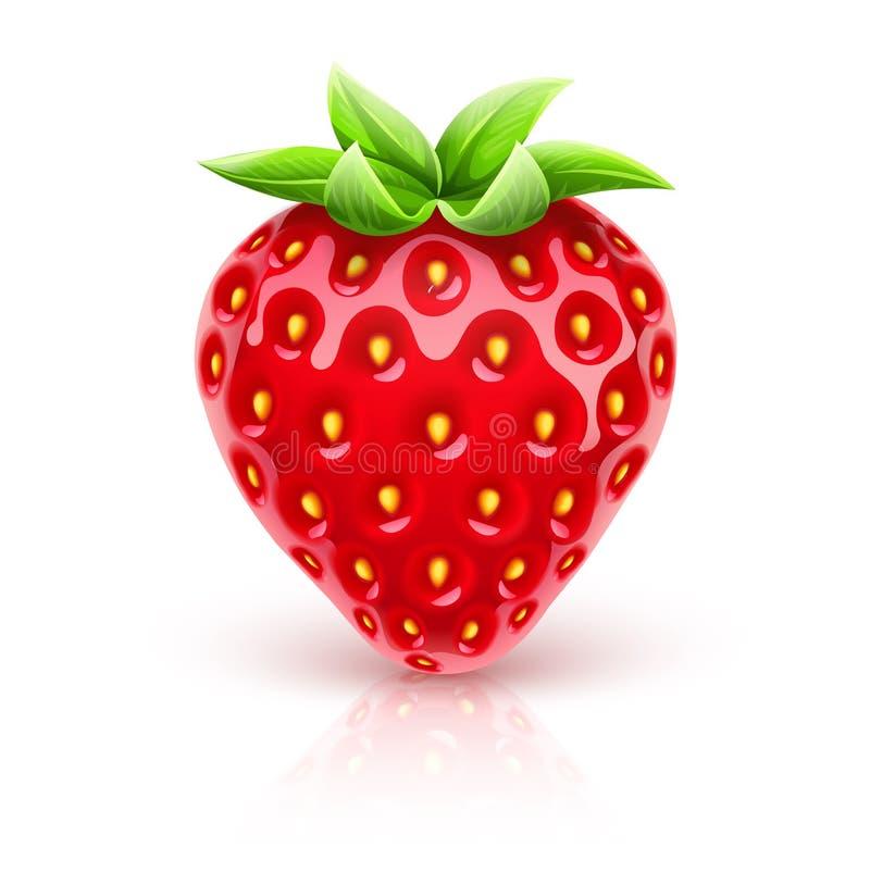 Baya roja madura de la fresa con las hojas verdes Ilustraci?n del vector ilustración del vector