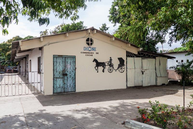 BAYAMO, CUBA - JAN 30, 2016: Building of the Cuba`s only hand made horse carts production lin. E royalty free stock photos