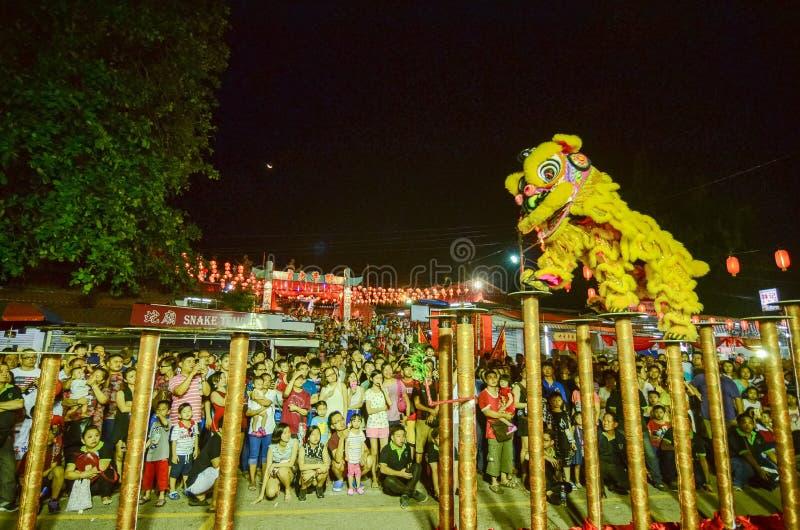 """BAYAN BARU, †di PENANG/MALAYSIA """"2 febbraio 2016: Perfo di ballo di leone fotografia stock libera da diritti"""
