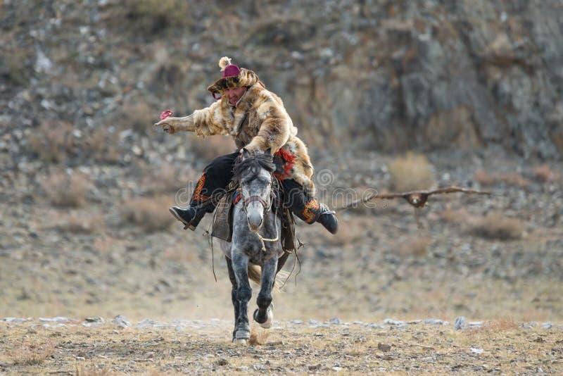 Bayan-Ulgii, Mongolia occidental, Eagle Festival de oro, el 1 de octubre de 2017: Mongolian Rider-Hunter In Traditional Clothes O imagen de archivo