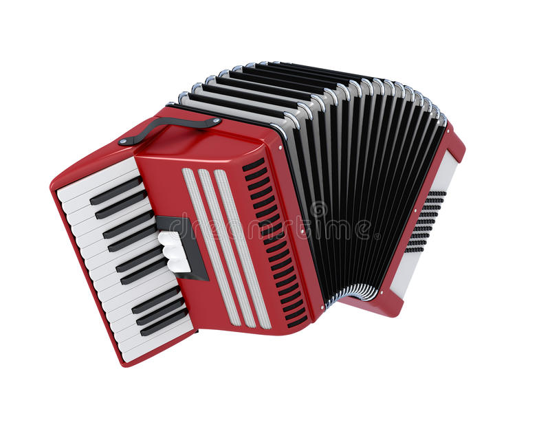 Bayan on white background. Bayan isolated on white background. Accordion illustration. 3d render image royalty free illustration