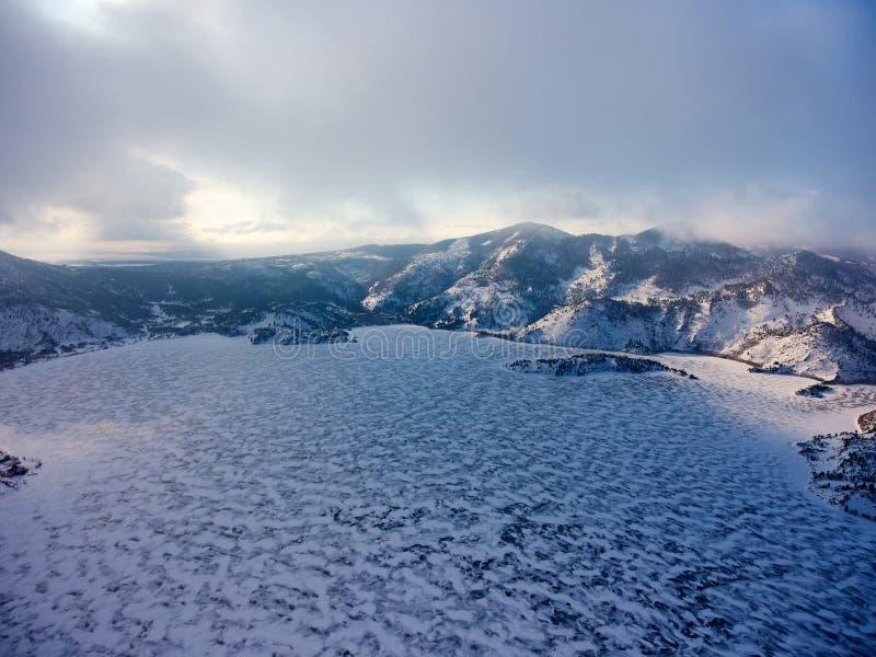 Lake Zhasybay. Winter view of the Zhasybay lake. Winter morning. Bayanaul National Park. Kazakhstan. Bayanaul National Park is a national park of Kazakhstan stock images