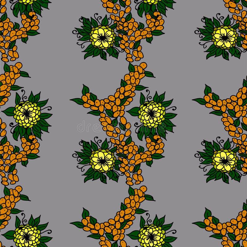 Bayas anaranjadas y flores amarillas stock de ilustración