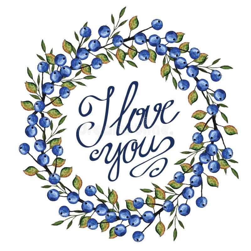 Bayas azules de la acuarela, guirnalda de las ramas vendimia libre illustration