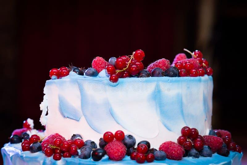 Bayas brillantes frescas en los tops de un pastel de bodas blanco fotos de archivo libres de regalías