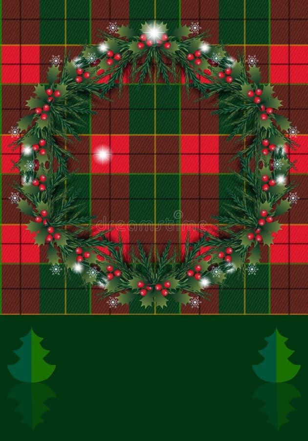 Bayas de la decoración de la Navidad, guirnalda del árbol de abeto ilustración del vector