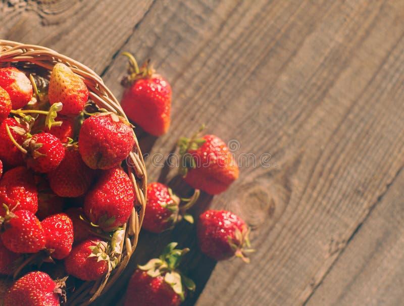 Bayas jugosas frescas de la fresa en una cesta wattled foto de archivo