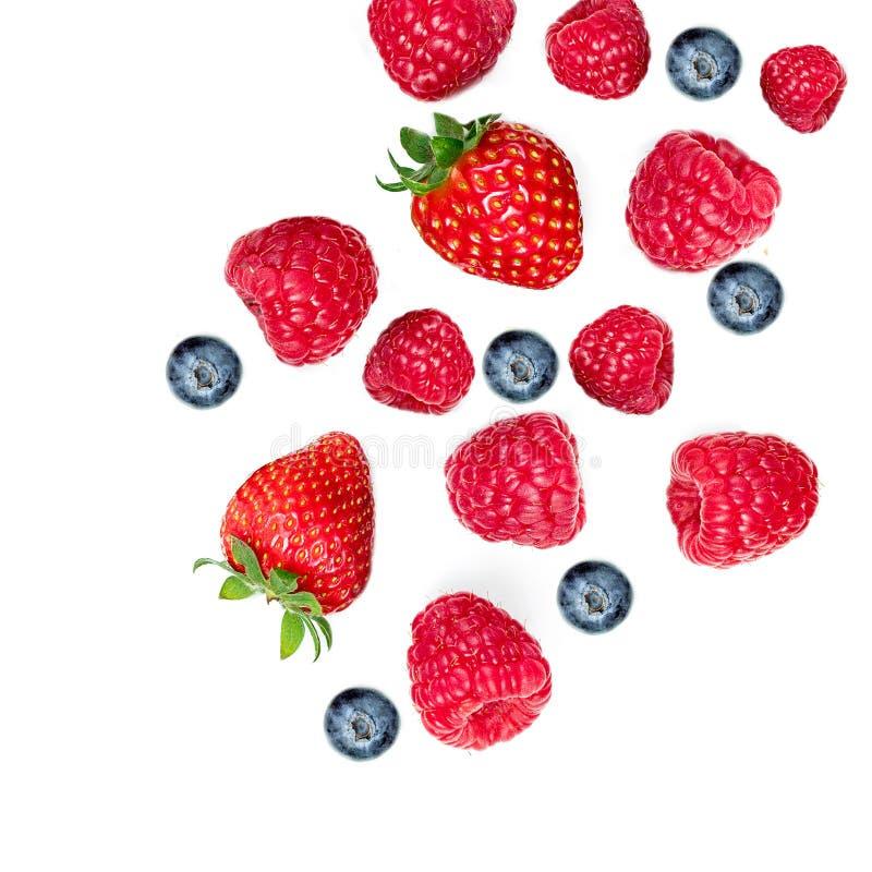 Bayas mezcladas del verano Hoja de la fresa, de la frambuesa, de los arándanos y de la menta aislada en el fondo blanco, visión s foto de archivo