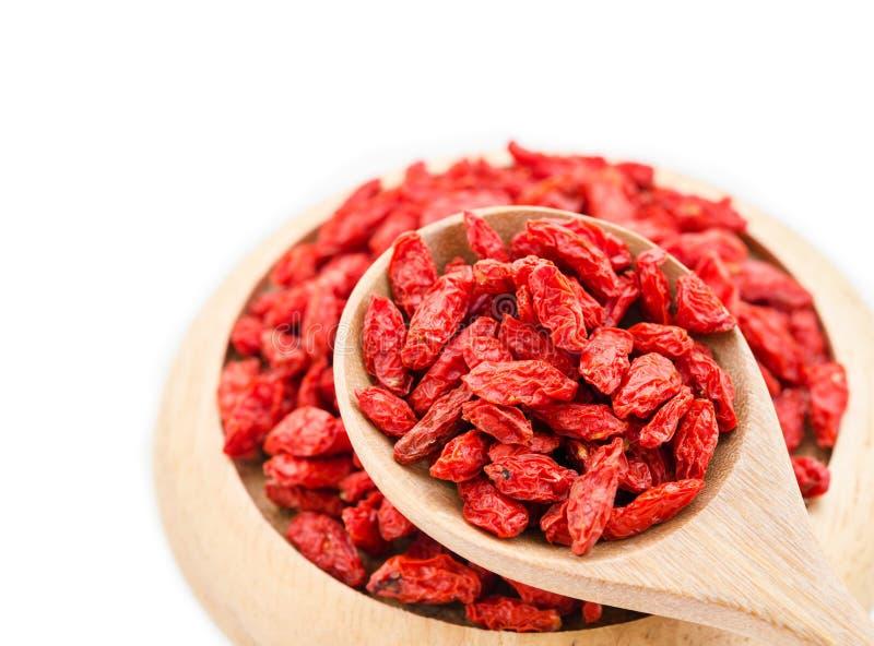 Bayas secadas rojas del goji fotos de archivo