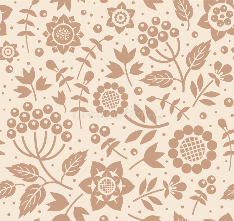 Bayas y ramitas, fondo decorativo, inconsútil, beige, marrón, vector libre illustration