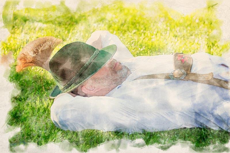 Bayerischer Mann, der auf dem Gras schl?ft lizenzfreie abbildung