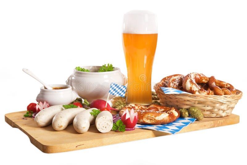 Bayerisches Kalbfleisch-Wurst-Frühstück stockfotografie