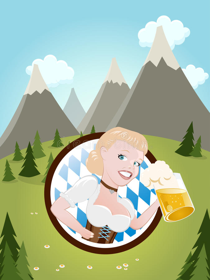 Bayerisches Mädchen mit Bier stock abbildung
