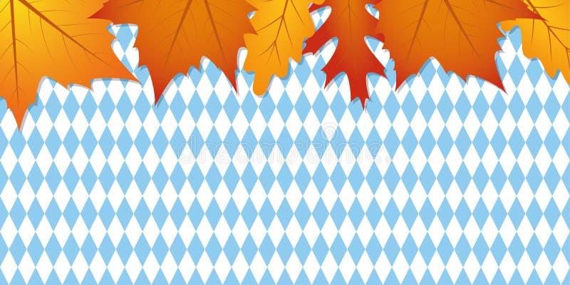 Bayern flaggabakgrund som är blå och som är vit med höstsidor royaltyfri illustrationer